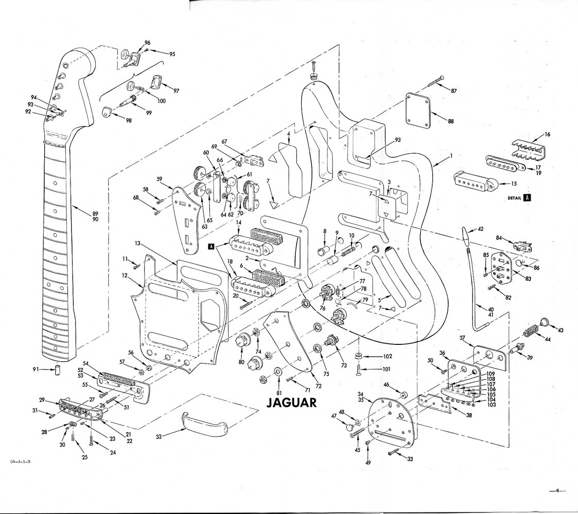 fender jaguar schematic – interesting to see all the parts ... vintage fender jaguar wiring fender jaguar wiring avril